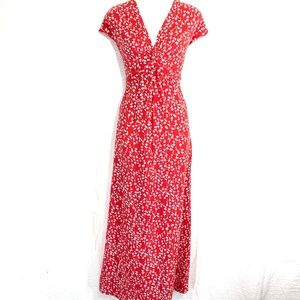 LAND'S END Red Floral Maxi Cotton Knit Dress ~sz S